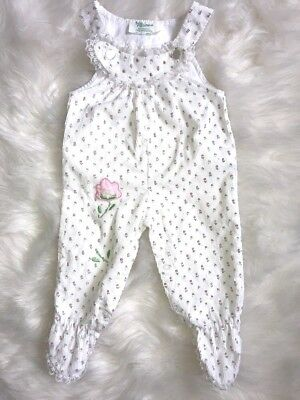Vintage Tiny Tots Original Baby Girl Footed Overalls Floral White 6-9 Months 6M