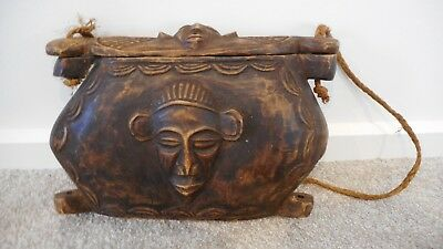 African Kuba Tukula Tribal Carved Wood Lidded Carry Box