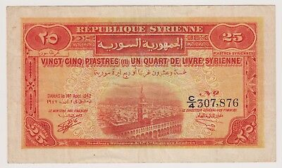 Syria Syrie 25 Piastres 1942 P51 Strong VF Omayyad Mosque Damascus Rare Currency