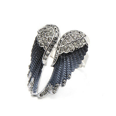Angel Wings Ring Hot Punk Biker Rhinestone Women's Fashion Statement Ring Jewel