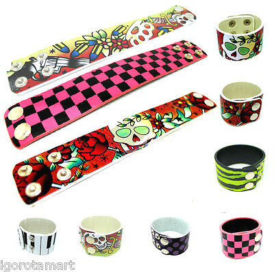 5X Synthetic Pu Leather Clip Clasp Hip Hop Punk Wide Bracelet Cuff  Jewelry