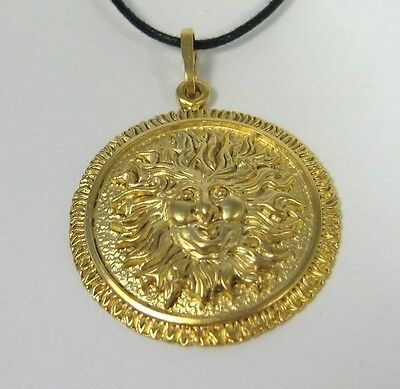 Sun Face Pendant 14K Gold over Bronze Necklace USA Made Adjustable Jewelry