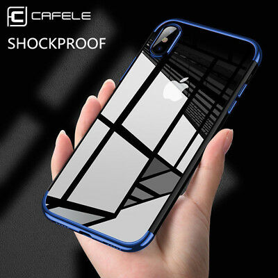 Placage transparent brillant TPU Housse Etui Coque Pour iPhone 8 6 6S 7 Plus X