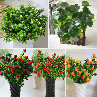Artificial Plant Fake Green Leaves Foliage Bush Indoor Outdoor Home Office Decor