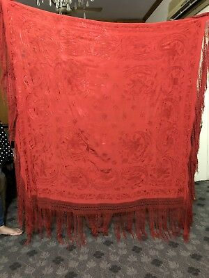 """Antique Chinese Hand Embroidered Silk Piano Shawl 62"""" X 63"""" Fringe 16"""" Red"""