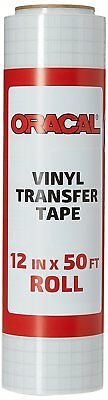 """Oracal 12"""" X 50' Feet Roll CLEAR Transfer Tape w/ Grid for Adhesive Vinyl   Tape"""