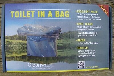 Cleanwaste Toilet in a Bag box of 15 Economy Version of GO anywhere Toilet Kit