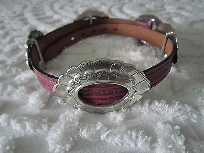 """Ladies Genuine Leather """"USA""""Size 28""""Top Grain Cowhide-Silver Buckle & (4) Concho"""