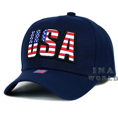 USA American Flag hat Stars and Stripes USA Embroidered Baseball cap- Navy Blue