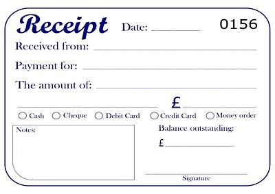 Receipt Book Duplicate Carbonless (NCR), 50 sets, serially numbered, perforated.