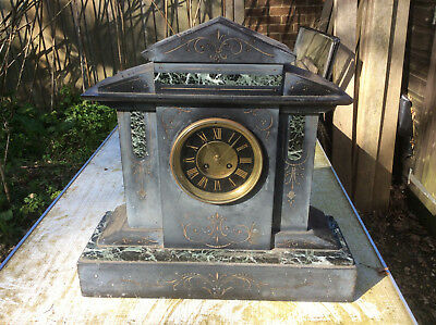 A VERY LARGE Slate Clock With marble details