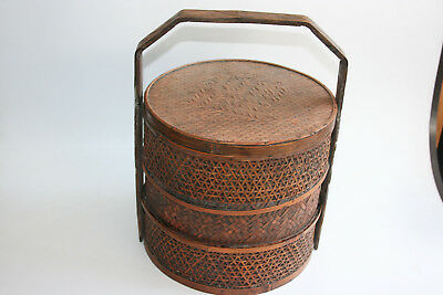 Chinese Wooden Bamboo Weaving Portable Food Box Container