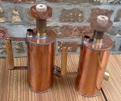 Pair Of Vintage Copper & Wood Apiarist Bee Keeper Smokers Coolers Great Lights