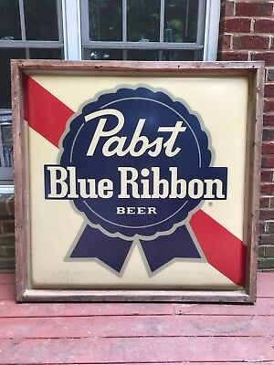 """Huge Pabst Blue Ribbon Distribution Sign Man Cave Breweriana Gas Station NOS 48"""""""