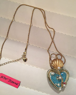NWT Rare Betsey Johnson Turtle Crab Heart Shell Pendant Necklace Under the Sea