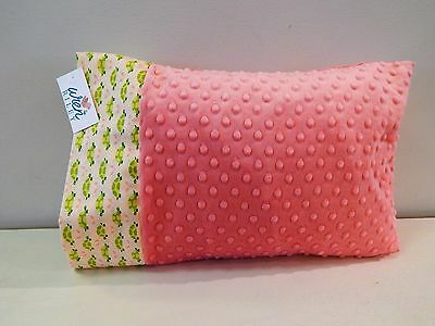 NWT Coral Turtle Green Peach Minky Dot Toddler Pillowcase 12x16 Girl Bed Nap Mat