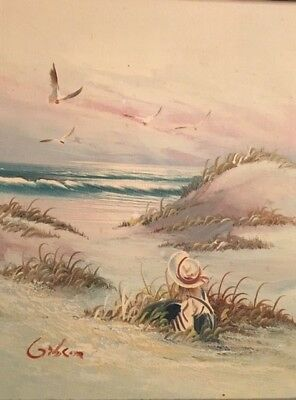 "ORIGINAL Vintage Framed Oil on Canvas- SEASCAPE Girl by Ocean- SIGNED ""Gibson"""
