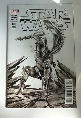 Star Wars Marvel Comic Issue 1 Boba Fett Sketch Variant Exclusive Cover