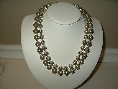 Vintage 2 Strand Metallic Gold & Silver Colored Crackle Finish Beads Necklace