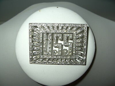 Large Vintage Art Deco Silvertone & Clear Rhinestone USS Initials Brooch Pin