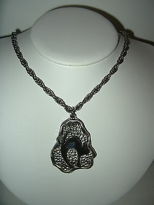 Vintage Signed CORO Silvertone Pewter Modernist Abstract Cat Pendant & Chain