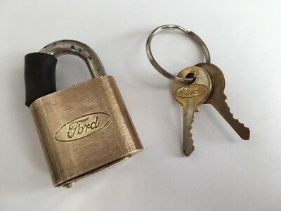 Vintage Ford Motor Co. Brass Padlock With 2 Ford Keys Original