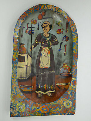 Hand painted wood dough bowl with St Pascual scene, mexican folk art