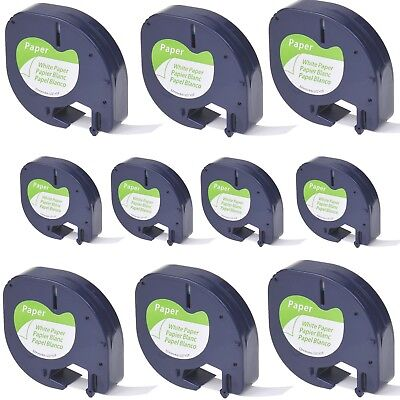 10PK Paper Label Tape for DYMO Letra Tag LT100H LT 91330 Black on White 1/2""
