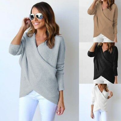 AU Womens V Neck Long Sleeve Jumper Pullover Tops Ladies Casual Knitwear Sweater