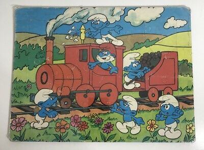 Smurfs Vintage Tray Puzzle By Willow, SEPP-BP Australia - Complete 1981 - Train
