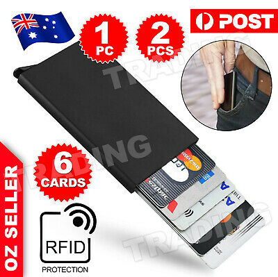 2X RFID Blocking Aluminum Slim Wallet ID Credit Card Holder Case Protector Purse