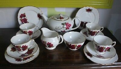 Vintage Royal Vale Tea Set, 4 x Trio, Teapot, sugar & milk jug, red Rose