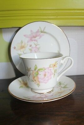 Vintage Marlborough Bone China Trio, Pink & Yellow Blossom,  Floral Tea cup