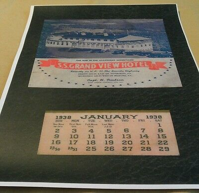1938 Grand View Point Ship Hotel Calendar Bedford Pa Lincoln Highway Poster Repo