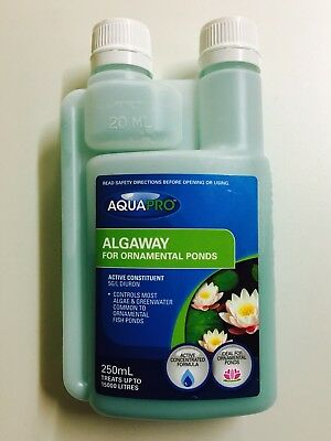 Fish Safe No More Pond Algae AQUAPRO ALGAWAY Algaecide 250ml Treats 15000L RP$39