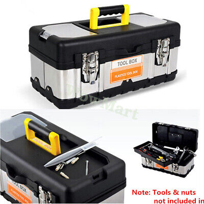 "Heavy Duty Plastic Construction & Stainless Steel Tool Box Toolbox 19"" 17"" 14"""