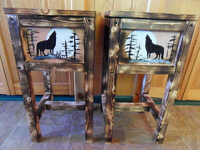 Set of 2 northwoods wolf table nightstand end table wolves  Maine wood