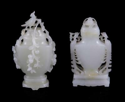 Chinese white jade miniature vases and covers (2pcs) Lot 22