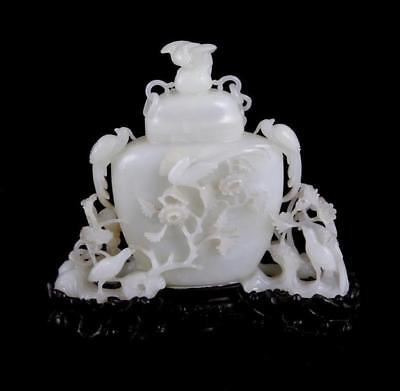 Chinese white jade vase and cover on chain (2pcs) Lot 16