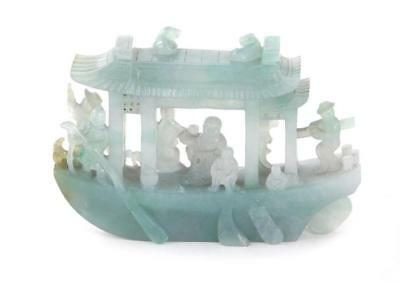 Chinese pale green jade boat Lot 26
