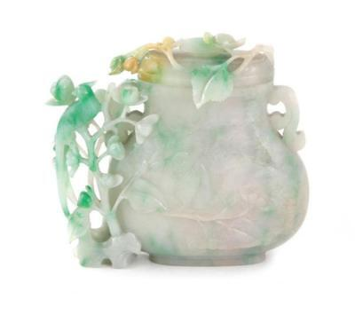 Chinese green and white jadeite vase and cover Lot 39