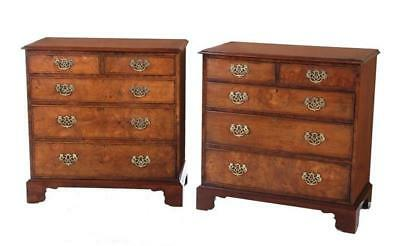 Pair Georgian style burl and satinwood chests of drawers (2pcs) Lot 194