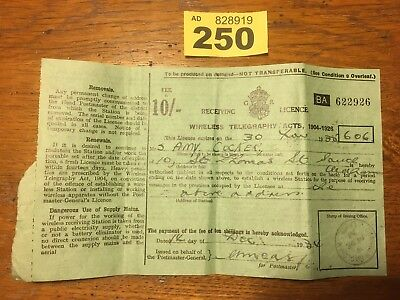 Vintage Telegraphy Receiving Licence. 1938 #LOT 250
