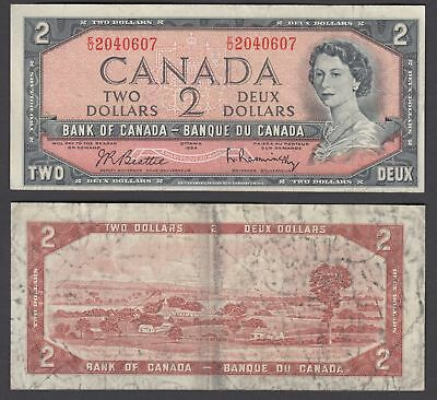 Canada 2 Dollars 1954 (1961-72) Banknote (F) Condition QEII P-76b
