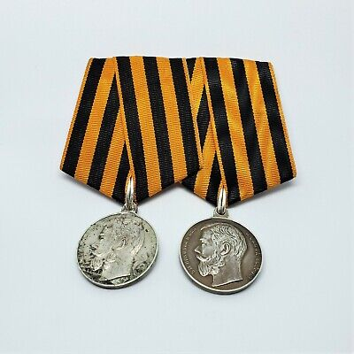Two (2) Imperial Russian WWI Silver 900 BRAVERY Medal Order Badge 3 and 4