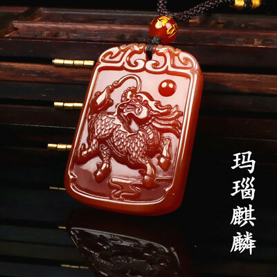 China 100% natural red Agate jade handcarved kylin pendant have a certificate