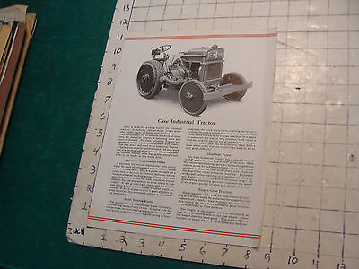 Vintage brochure: VERY EARLY----CASE INDUSTRIAL TRACTOR --1910's or 20's