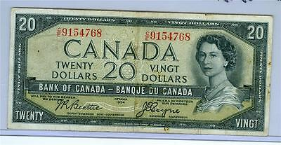 CANADA 1954 20 DOLLARS P-70b ABOUT VF. Devil's Face.
