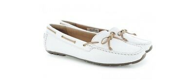 New Clarks Womens Shoes Dunbar Groove White Leather Size 6 UK Fit E