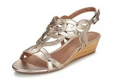 e1e5fda1471 CLARKS PLAYFUL TUNES Womens 8.5 M Gold Leather Studded Scroll Wedge ...